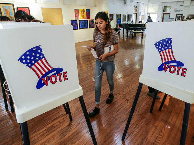 LOS ANGELES, CA - NOVEMBER 8: Maryjane Medina, 18, a first time voter, walks up to polling booth to cast her vote at a polling station set-up at Watts Towers Arts Center on November 8, 2016 in Los Angeles, California. (Photo by Irfan Khan/Los Angeles Times via Getty Images)