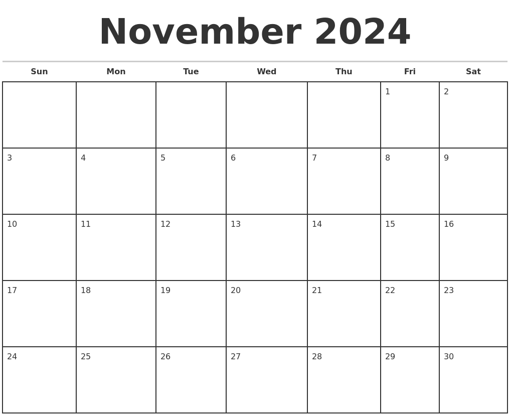 november 2024 monthly calendar template