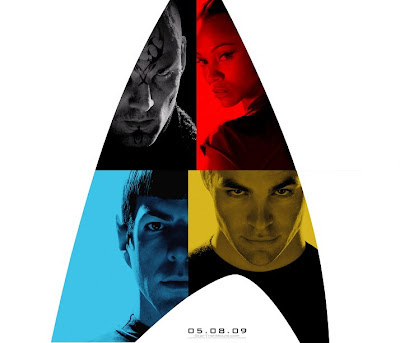 Star Trek Teaser Character Movie Posters Combined - Eric Bana as Nero, Zoe Saldana as Uhura, Zachary Quinto as Spock & Chris Pine as Kirk