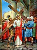 [Jesús carga con la cruz]