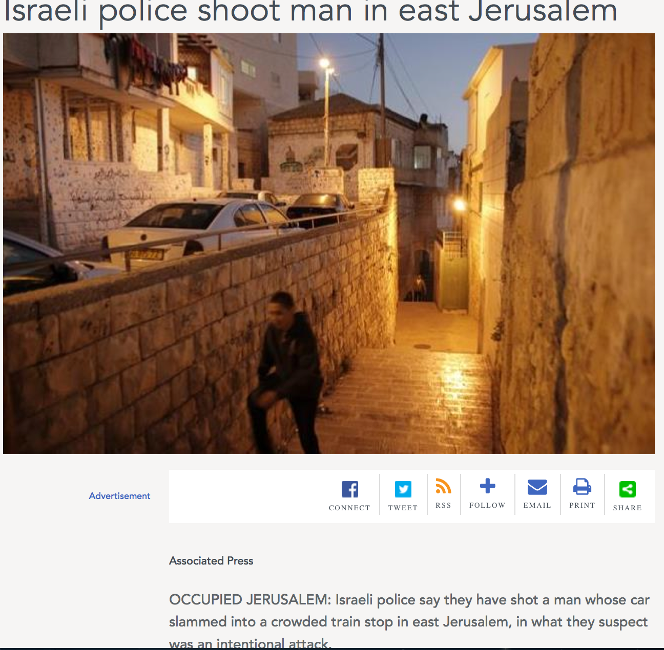 """AP's original headline as displayed by a Lebanese newspaper, which cites """"Occupied Jerusalem"""" as the location of the terror attack story. Image: The Daily Star"""