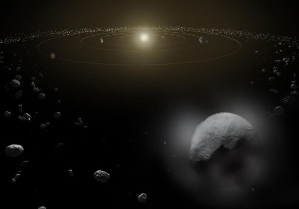 An artist's concept of dwarf planet Ceres in the Main Asteroid Belt...located between the orbits of Mars and Jupiter.