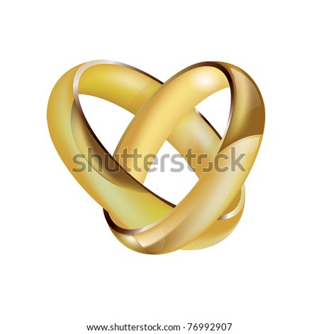 stock vector A vector pair of intertwined ladies and mens wedding rings in