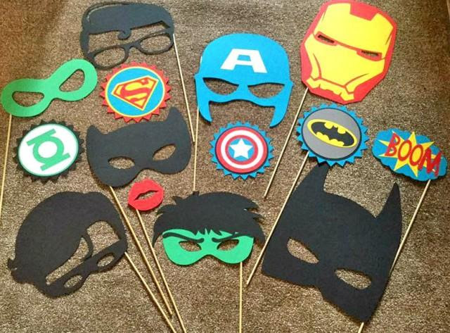 14pc Super Hero Party Photo Booth Props Hulk Captain America