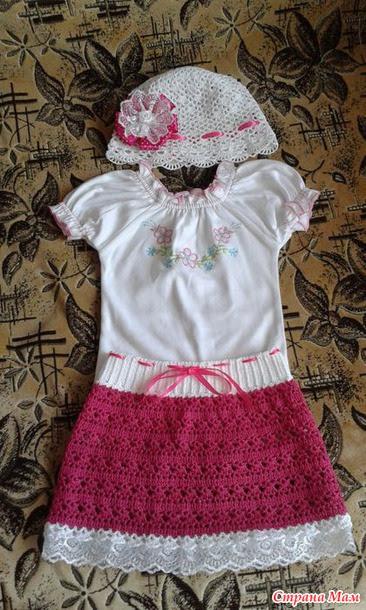 Панамка и юбка крючком