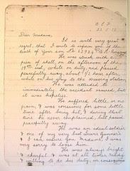 Private Richard Ainscough - letter