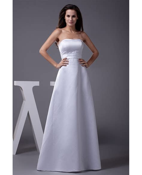 A line Long Satin Strapless Wedding Dress with Lace Jacket