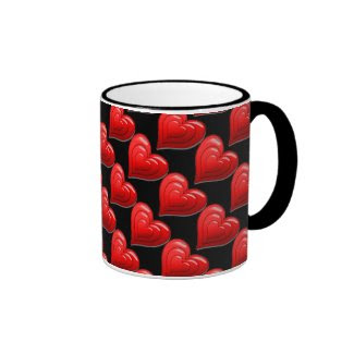 Red Heart Pattern Valentine's DayCoffee Mug