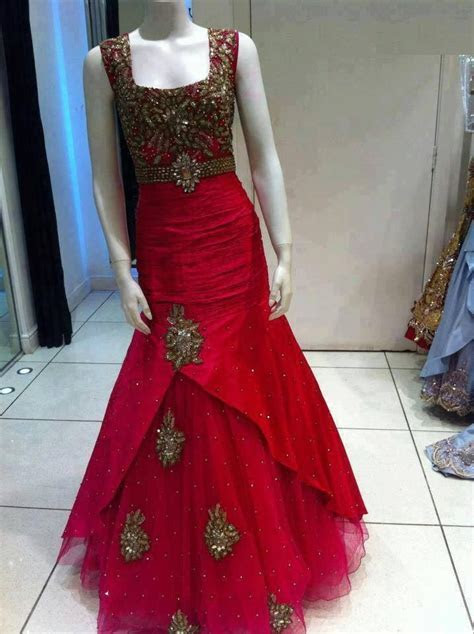 Red Silk Gown, indo western gown, Indian wedding reception