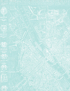 2a Paris map 1654 Plan de Boisseau LIGHT TURQUOISE - LETTER size 8.5 x 11 inch