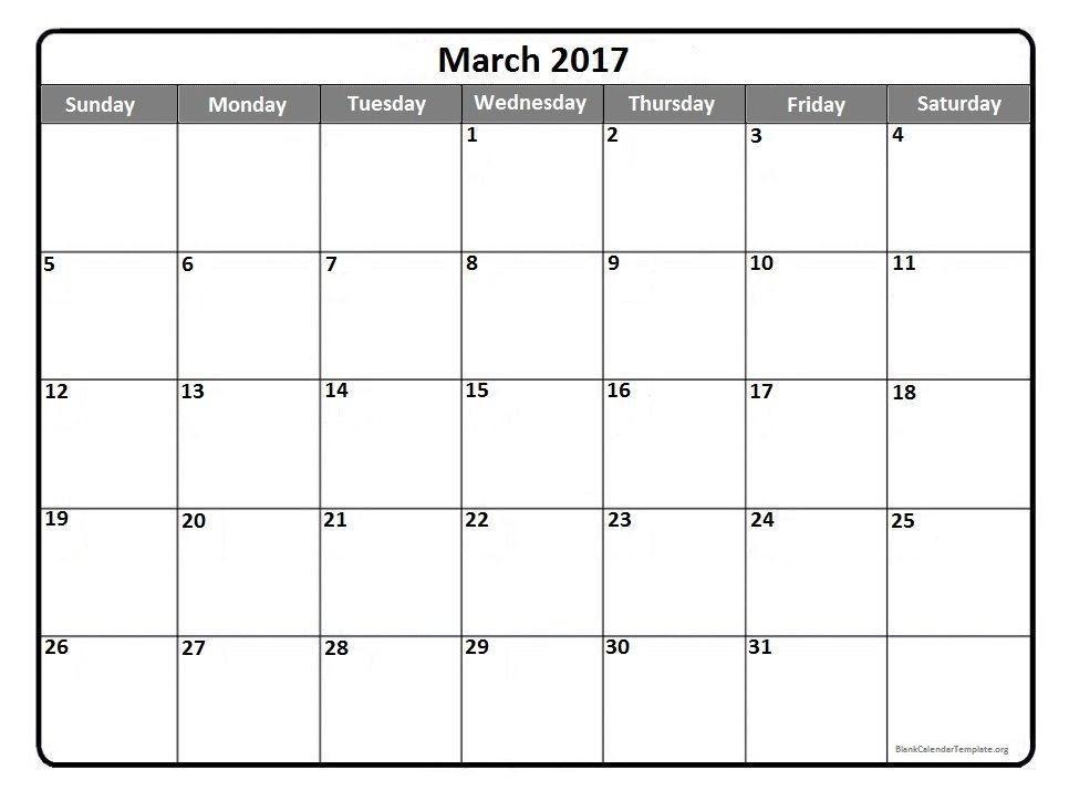 March Calendar 2017 Printable – 2017 March Calendar