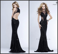 Long black sequin evening dress uk