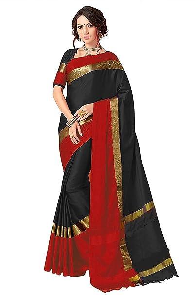 Perfectblue Women`s Cotton Saree With Blouse Piece(PB0brownblueviswa_Brown) (black)