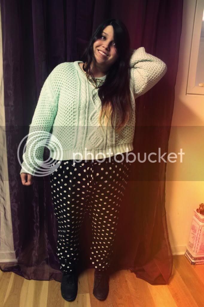 plus size mint crop top, plus size crop top, plus size harem pants, plus size polka dot harem pants, jessica ip, plus size fashion