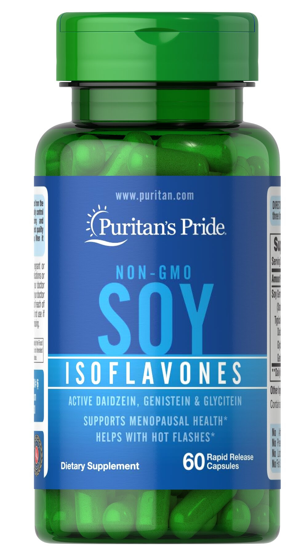 Non-GMO Soy Isoflavones 750 mg <p>Soy is a rich, plant-based source of phytoestrogens, which are naturally occurring compounds that help with hot flashes in menopausal women.**</p><p>Made from non-GMO certified soybeans, soy isoflavones provide holistic supplementation for a woman's midlife years. Our non-GMO soy isoflavones  include Daidzein, Genistein, and other soy isoflavones.</p> 60 Capsules 750 mg $9.49