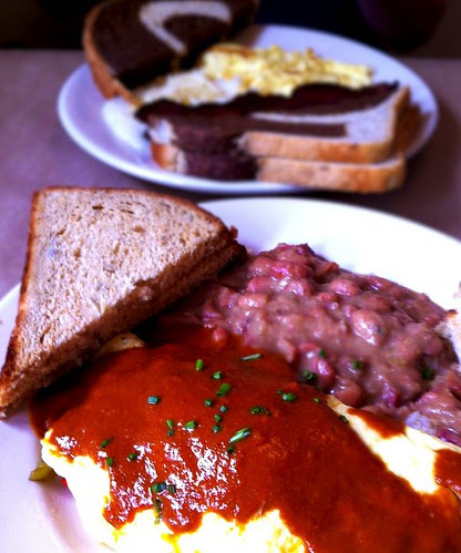 pulled pork omelette, red mole. Hominy Grill, Charleston.