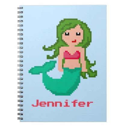 8Bit Pixel Geek Mermaid Custom - Green Hair Notebook