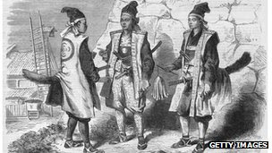 Three samurai warriors