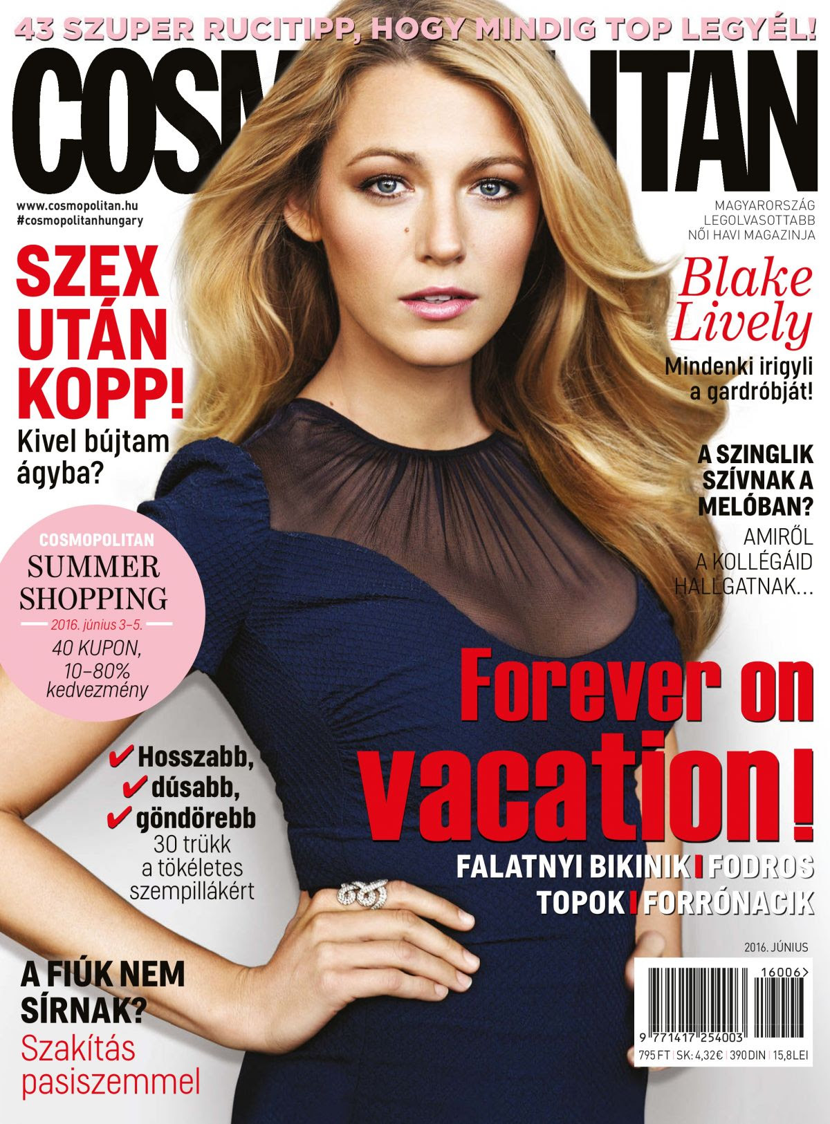 BLAKE LIVELY in Cosmopolitan Magazine, Hungary June 2016 Issue
