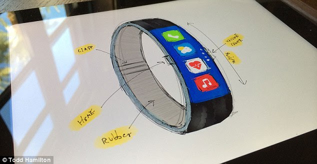 Hamilton said he 'wanted to retain a slim form factor like the Fuelband and incorporate familiar UI components from iOS 7. [The concept], pictured, needed to feel natural on the wrist and look like something Apple would actually produce'