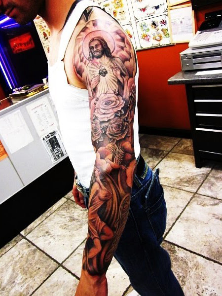 Heart Of God Shines Religious Tattoo Sleeve Best Tattoo Ideas Gallery