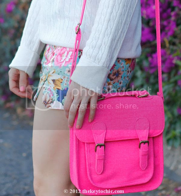 H&M pearl collar necklace, Target neon bag, Xhilaration hot pink handbag  floral print shorts, Zara colorblock heels, Los Angeles fashion blogger, southern California style