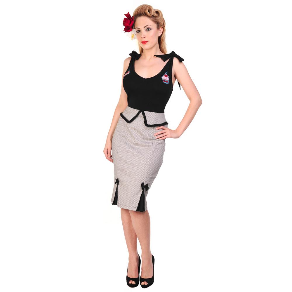 Vestido Estilo Vintage Años 50 Banned Pinup Negro Corte Recto Peplum