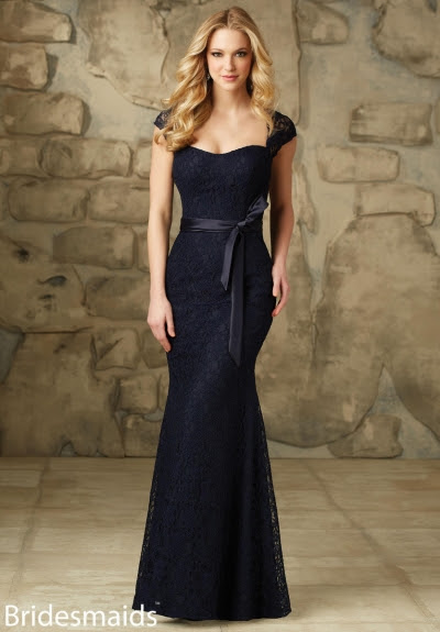Sheath Queen Anne Neck Cap Sleeves Long Sheath Blue Bridesmaid Dress with Dark Navy Ribbon _2