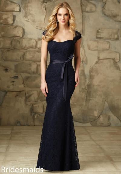 Sheath Queen Anne Neck Cap Sleeves Long Sheath Blue Bridesmaid Dress with Dark Navy Ribbon _2