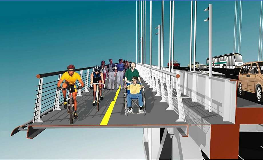 Transportation officials are studying the possibility of a bike/pedestrian path on the west span of the Bay Bridge. The lanes would be clipped on to the north and south sides of the suspension plan.  Ran on: 12-13-2011 An artist's rendering shows the concept for a bike and pedestrian path on the west span of the Bay Bridge. Ran on: 12-13-2011 Photo caption Dummy text goes here. Dummy text goes here. Dummy text goes here. Dummy text goes here. Dummy text goes here. Dummy text goes here. Dummy text goes here. Dummy text goes here.###Photo: bike13_PH10###Live Caption:Transportation officials are studying the possibility of a bike-pedestrian path on the west span of the Bay Bridge. The lanes would be clipped on to the north and south sides of the suspension plan.###Caption History:Transportation officials are studying the possibility of a bike-pedestrian path on the west span of the Bay Bridge. The lanes would be clipped on to the north and south sides of the suspension plan.###Notes:Original byline: rmleczko-###Special Instructions: Ran on: 12-13-2011 Photo caption Dummy text goes here. Dummy text goes here. Dummy text goes here. Dummy text goes here. Dummy text goes here. Dummy text goes here. Dummy text goes here. Dummy text goes here.###Photo: bike13_PH10###Live Caption:Transportation officials are studying the possibility of a bike-pedestrian path on the west span of the Bay Bridge. The lanes would be clipped on to the north and south sides of the suspension plan.###Caption History:Transportation officials are studying the possibility of a bike-pedestrian path on the west span of the Bay Bridge. The lanes would be clipped on to the north and south sides of the suspension plan.###Notes:Original byline: rmleczko-###Special Instructions: Ran on: 12-13-2011 Photo caption Dummy text goes here Photo: Rmleczko, Courtesy MTA