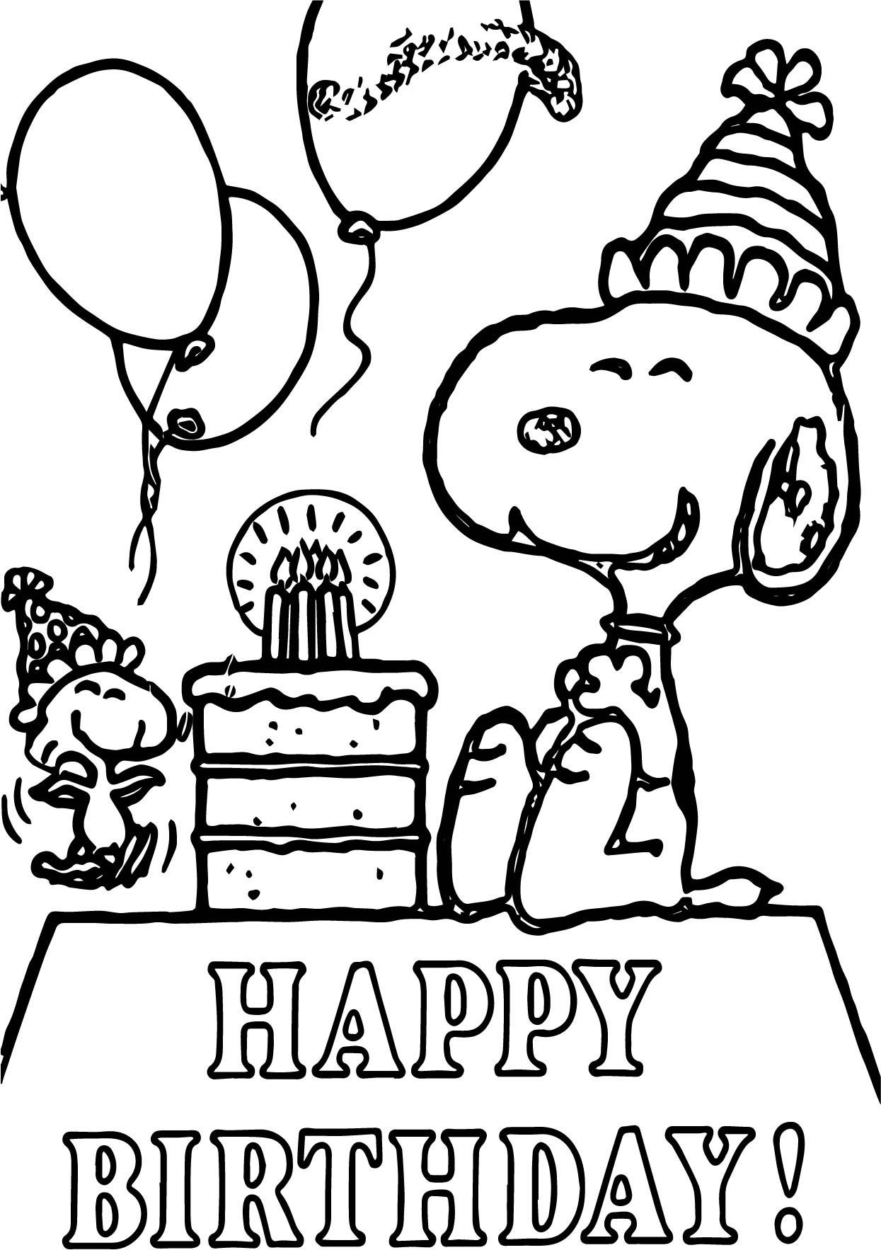 Snoopy Happy Birthday Quote Coloring Page | Wecoloringpage.com