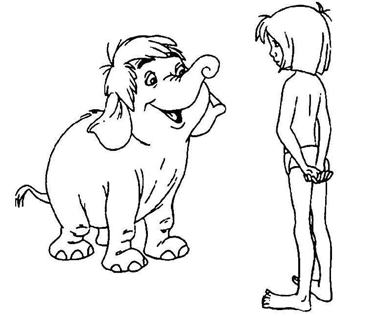 Coloriage A Imprimer Le Livre De La Jungle Mowgli Parle Avec Junior