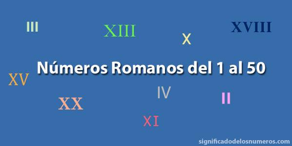 Números Romanos Del 1 Al 50 Numeración Romana Hasta El 50