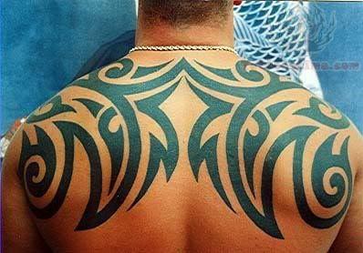 Butterflies Tribal Tattoo On Upper Back