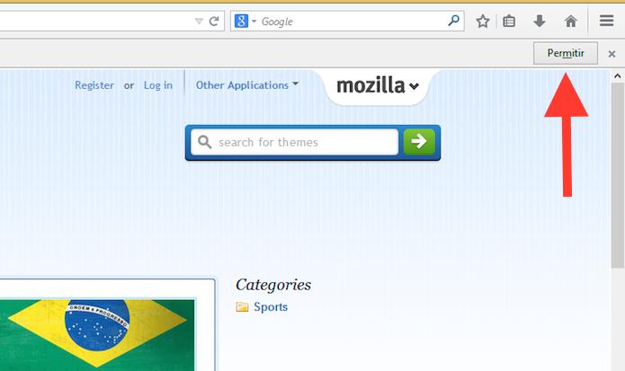 Permitindo que a extensão altere o visual do Firefox (Foto: Reprodução/Marvin Costa)