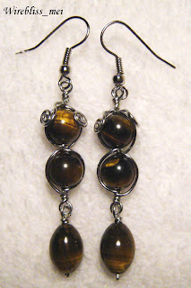Wire Wrapped Tiger Eyes Earring