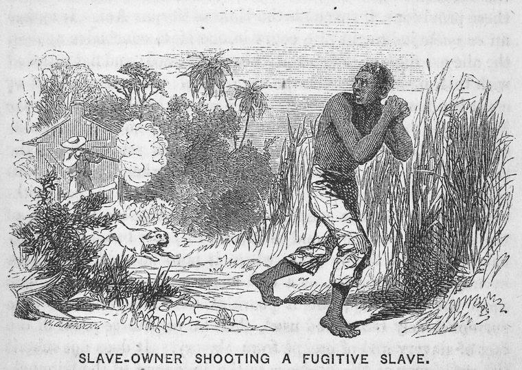 Slave-owner shooting a fugitive slave.