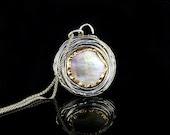Large Sterling & Grey Mother of Pearl Necklace - Mystic Moon  - Handmade - Ready to Ship - serpilguneysudesigns