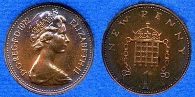 one new penny coin