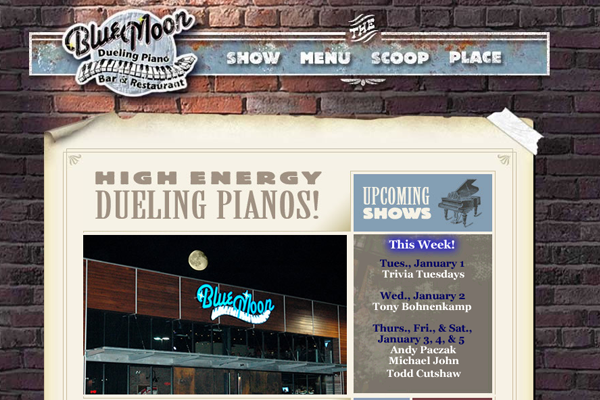 bar restaurant blue moon dueling piano website layout