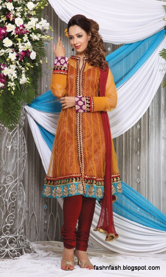 Anarkali Fancy Pishwas Frocks-Anarkali Double Shirt Style Frock New Fashion Dress Designs 2013-7