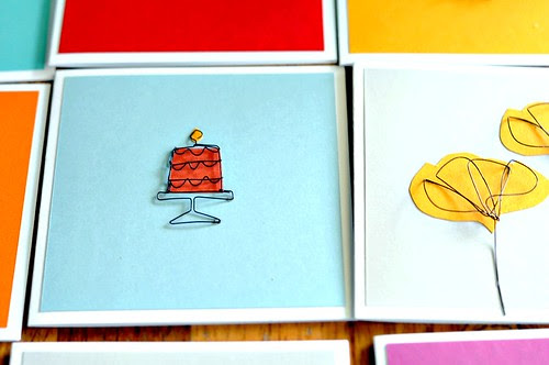 Wirework and Paper Art Handmade Cards featuring a birthday cake and leaves