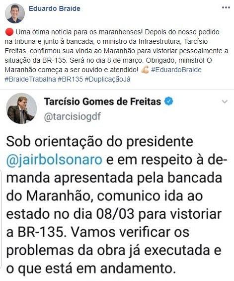 BR-135: após solicitação de Braide, ministro virá ao Maranhão