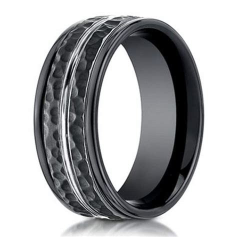 Designer Cobalt Chrome Ring for Men, Hammered Finish, 8mm