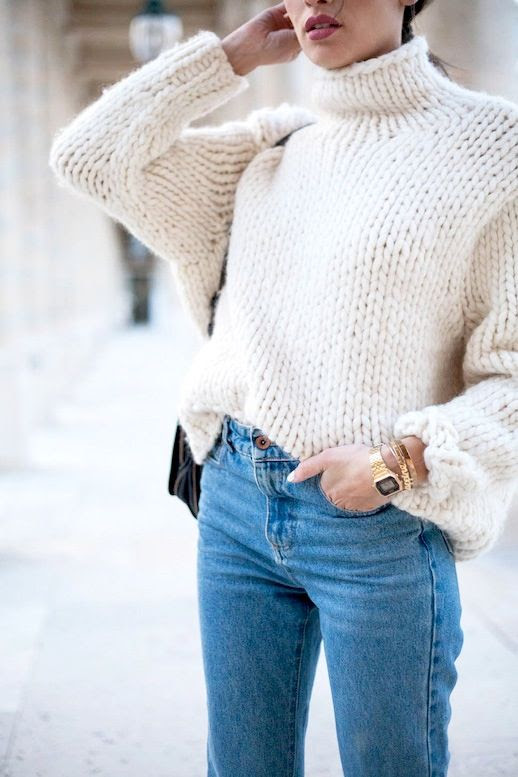 Le Fashion Blog Chunky Knit Turtleneck Sweater Vintage Digital Watch Cuff Word Bracelet Boyfriend Jeans Fall Style Via Alexs Closet