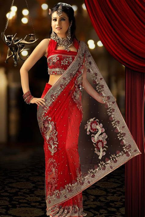 Red Net Saree for Wedding Wear and Party Wear   RED Galaxy