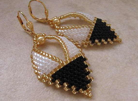 Beadwork  Russian Leaf Earrings  Black/White by pattimacs on Etsy, $20.00