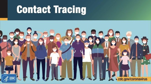 illustration of crowd of people with text contact tracing