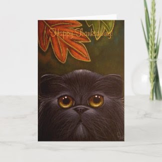 BLACK PERSIAN CAT - THANKSGIVING Card card