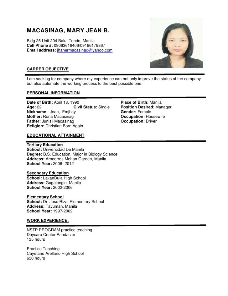 Format Of Resume For Job Application To Download Best Resume